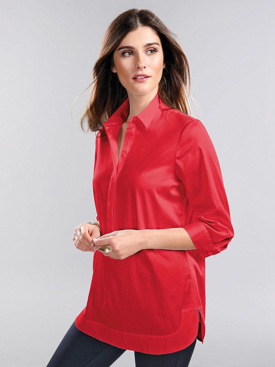 peter hahn le chemisier en satin de coton rouge. Black Bedroom Furniture Sets. Home Design Ideas