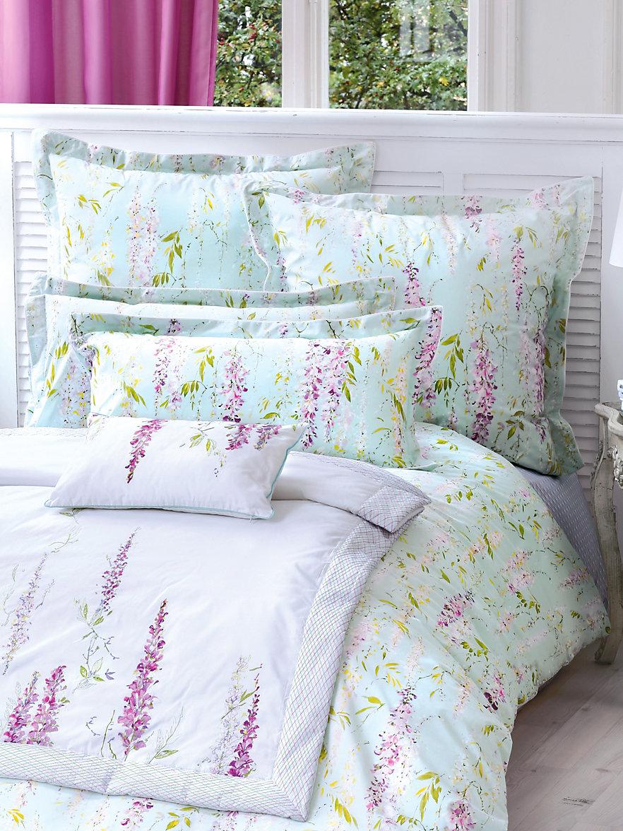 yves delorme la taie d 39 oreiller env 30x50cm blanc violet. Black Bedroom Furniture Sets. Home Design Ideas
